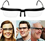Dial Adjustable Glasses Variable Focus, Adjustable Eye Glasses Dial Vision Zoom Lens Variable Focus for Distance Reading,Manual Focusing Men Women