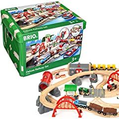 Product includes – The Deluxe Railway Set is an action-packed train set that includes passenger trains, freight trains, harbour scenes and metro fun. It's complete with stations, cranes, bridges and figures. A must have for any train lover. Perfect f...