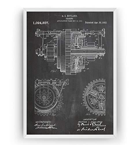 Mechanisches Getriebe 1912 Patent Poster - Mechanical Gearing Giclee Print Art Kunst Wall Dekor Decor Entwurf Wandkunst Blueprint Geschenk Gift - Frame Not Included