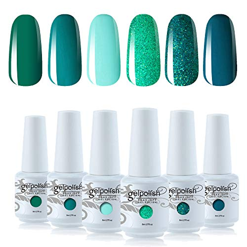 Vishine Nagellack, Gel, semi-permanent, Grün, Kollektion Soak Off, UV, LED, Gel, Nail Art, Geschenkset, 8 ml, 6 Stück