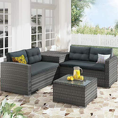 Merax 4 PCS Patio Conversation PE Rattan Wicker Outdoor Furniture Sofa Set with Large Storage Box and Removable Cushions, Gray