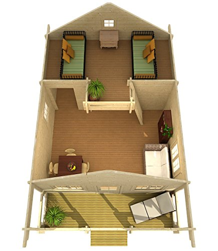 """Allwood timberline   483 sqf cabin kit 5 inside floor area: 354 sqf + loft 129 sqf wall thickness: 2-3/4"""" (70 mm) - dual t&g pattern   ridge height: 14'9"""" snow load capacity 46 lbs/sqf - for 70 lbs/sqf and 96 lbs/sqf values see asin:b07ty5msy8"""