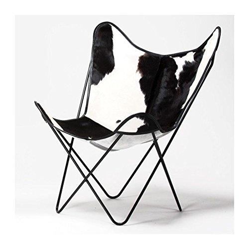 Blanco Negro Piel brazo silla BKF AA BKF silla Star mariposa piel silla de mariposas decoración del hogar