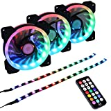 DS Addressable RGB LED 120MM Case Fan with Controller for PC Cases, CPU Coolers, Radiators System (3pcs RGB Fans, 2pcs LED Strips, 4th Gen RF Remote Control, A Series)