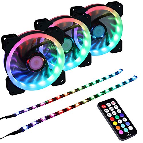DS Addressable RGB 120MM LED Fans with Controller for PC Cases, CPU Coolers, Radiators System (3Pack RGB Fans, 2Pack LED Strips, 4th GEN Hub Box, A Series)