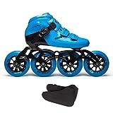 XZ15 Competizione Professionale Pattini in Linea, Adulti Uomini e Scarpe Rosse di velocità su Ghiaccio delle Donne, in Fibra di Carbonio Quad Blu Pattini a rotelle