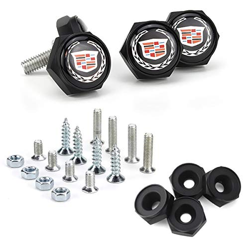 License Plate Frame Screw Bolts - Logo Cap Cover Metal Screw Bolts Nuts Anti-Theft Universal Car Truck Accessories fit for Cadillac 4PCS/Set