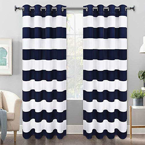 Striped Window Curtains, Blue and White Striped Curtains with Grommets for Bedroom Living Room, Set of 2 Panels, 52 x 63 Inch Length