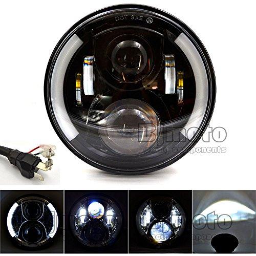 Foco delantero para motocicleta, 17,8 cm de diámetro, LED, faro diurno de BJ...