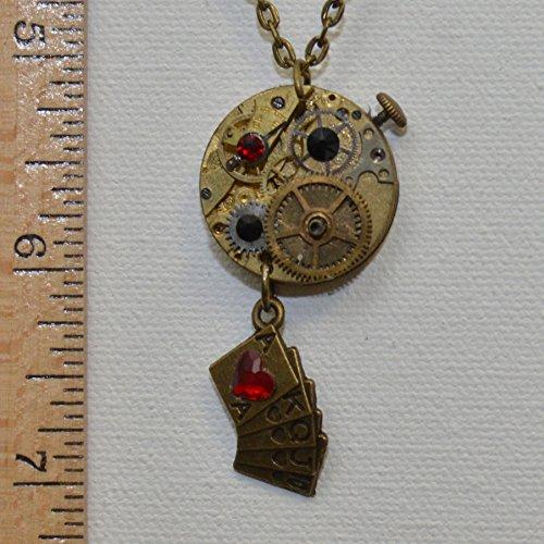 Steampunk Card Deck Watch Necklace (Ruby & Jet black)