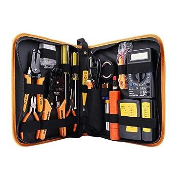 Network Tool Kit Set of 17 Ethernet Cable Crimper Punch Down Tool RJ45 Crimp Tool Kit 8P8C 4P4C 6P6C Connectors RJ45 RJ11 Lan Cat5 Cat6 Cable Tester