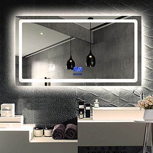 Badkamerspiegel met LED-verlichting, met spiegelbekleding, verwarmd, spiegel van zilver, HD, explosiebestendig, decoratieve spiegel, 600 x 800 mm