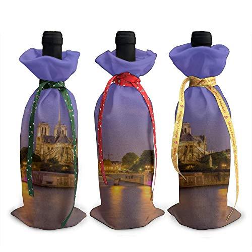 Couvre-bouteilles Bar Notre Dame De Paris Belle Lumière 3pcs Chirtmas Bouteille De Vin Couverture De Cadeau