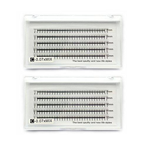 Extensiones de pestañas 5D Volumen 2 bandejas de 0.07mm de curvatura en C 8-12mm Longitud de mezcla Extensiones de pestañas falsas 3D Pestañas rusas de racimo ventiladores de volumen prefabricados 5D