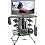 Atlantic Centipede Game Storage TV-Stand - 37 inch TV Stand, Durable Wire Construction with Game Storage, Organize Your Games, Controllers, 4 Game Consoles and More PN 45506147 in Black