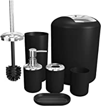 Soeland Bathroom Accessories Set Black, 6 Pieces Plastic Bath Accessories Luxury Bath Set Includes Toothbrush Holder, Toothbrush Cup, Soap Dispenser, Soap Dish, Toilet Brush Holder,Trash Can
