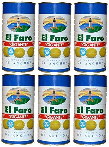 El Faro Oliven gefüllt mit Sardellen, 2 kg, [PACK 6 UNITS]