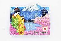 日本土産 富士山 舞妓 着物 金 日の丸 国旗 桜柄 マグネット ラメ入り 室内装飾 雑貨