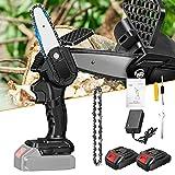 HUKOER Mini motosierra portátil, sin cable, cadena eléctrica con deflector, se utiliza para...