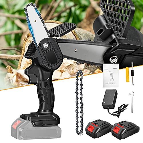 HUKOER Mini motosierra portátil, sin cable, cadena eléctrica con deflector, se utiliza para jardín o recortar árboles, camping, procesamiento de madera