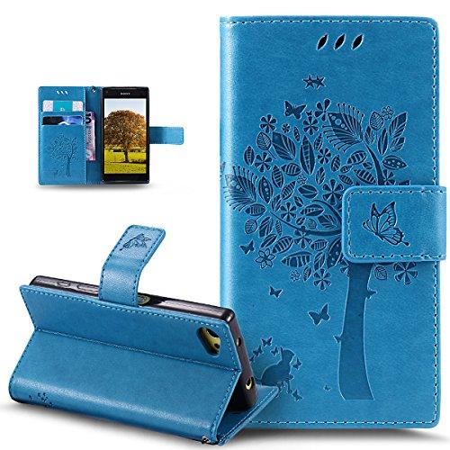 Coque Sony Xperia Z5 Compact,Gaufrage Embosser Chat papillon Fleur Floral arbre Housse en Cuir PU Etui Housse en Cuir Portefeuille de Protection Flip Case Etui Coque pour Sony Xperia Z5 Compact,Bleu