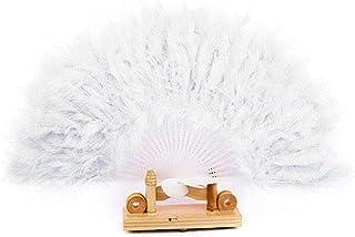Handfly Pluma de mano abanico abanico abanico plegable mano abanicos Feather abanico de mano para fiesta de disfraces de época decoración del partido
