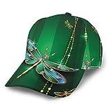 LAOLUCKY Gorra de béisbol ajustable con cierre snapback casual Trucker Hats Sun Hat Men Women Dragonfly Gemstone Crystal Diamond Art Black Talla única