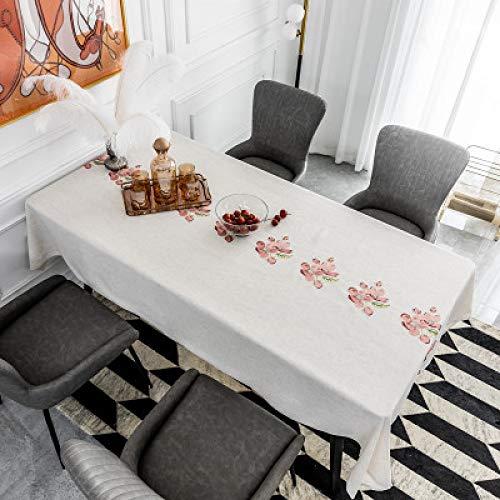 CCBAO Moderne Einfache Polyester-Stickerei Bestickte Tischdecke Rosa Pfirsichblüte Kleine Frische Esstischmatte Gekräuselte Kante Rechteckige Couchtisch-Tischdecke