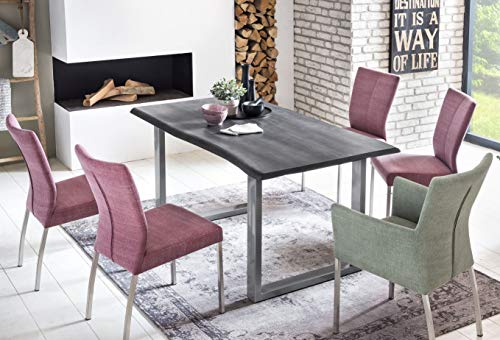 SalesFever Esszimmer-Tisch 160x85 cm | Akazie | echte Baumkante | grau -farbig | silbernes U-Gestell aus Metall | Massiv-Holz