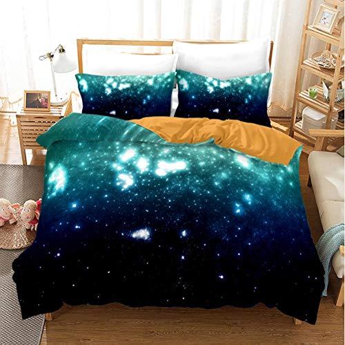 YHHAW Duvet Cover Sets,3D starry sky pattern Print,Soft Microfiber duvet sets pillowcase,3 Pieces (1 Duvet Cover + 2 Pillow cases) Bedding Sets-King 220x240cm