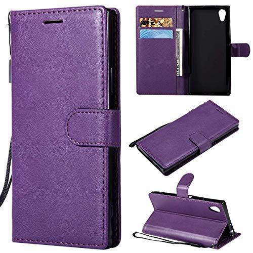 Sangrl PU-Leder Schutzhülle Für Sony Xperia XA1, Business PU Leder Wallet Tasche Cover Mit Kartenfächer Flip Hülle Für Sony Xperia Z6 - Lila