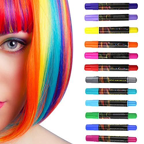 Permotary 12 Colors Temporary Hair Chalk Pens Washable Hair Color Paint Instantly Hair Dye Pens Non-Toxic DIY Marker Pens Gift for Girls Kids Birthday Gift,Halloween Christmas Parties,Cosplay