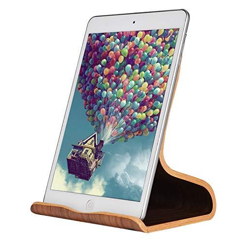 SAMDI 木製タブレット スタンド ホルダー 天然木, 卓上縦置きスタンド, タブレット ブラケット,軽量タブレット置き台, iPad, iPad mini, iPad Air, iPad Pro 9.7 10.5 11 12.9, Samsung Galasy S8 S9 S10 Note 6等対応 (黒クルミ)