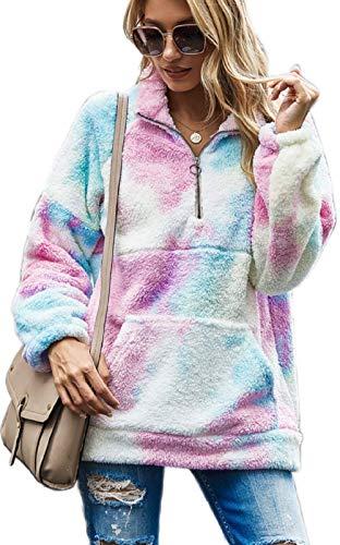 UMIPUBO - Sudadera para mujer con capucha y bolsillo con cremallera de franela suave, cálido, otoño e invierno, sudadera, manga larga Teinture XL
