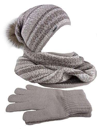 AMALTEA 3 teilig Damen-Kombi Winter-Set Alma, Longbeanie mit großem Pompon, Schlauchschal, Handschuhe, One Size braun Hellbraun Taupe beige