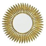 CasaJame Espejo de pared dorado con hojas doradas, espejo redondo con marco de metal, estilo vintage antiguo, diámetro de 50 cm