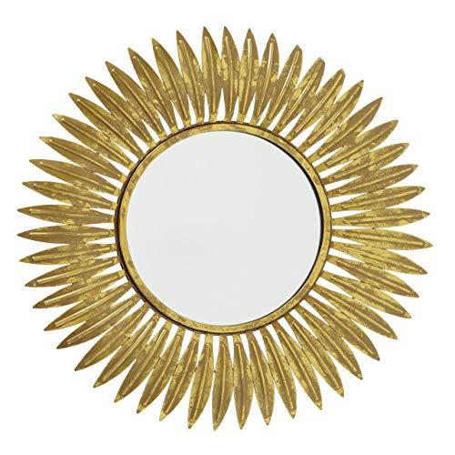 CasaJame Espejo de pared dorado con hojas doradas, espejo redondo con marco de metal, estilo vintage antiguo, diámetro de 50...