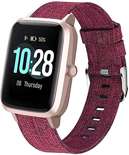 SkyBand Correas Compatible para LIFEBEE ID205L Moda Nylon Tela Tejida Clásico Correas Compatible para Smartwatch willful SW021/ YAMAY SW021/LIFEBEE ID205L (Rojo)