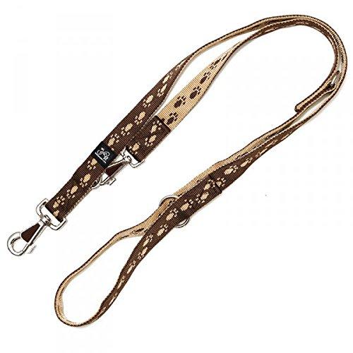 Nylonleine, Führleine braun mit beigen Pfötchen, 3-fach verstellbar 100-210 cm, 25 mm - passend zu den Feltmann Hundegeschirren