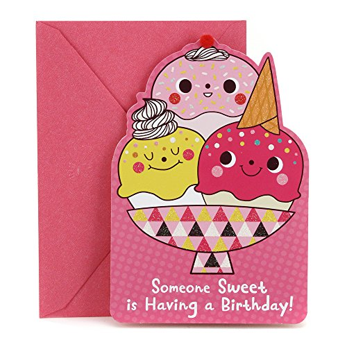 Hallmark Birthday Card for Kids (Ice Cream and Stars Stickers)
