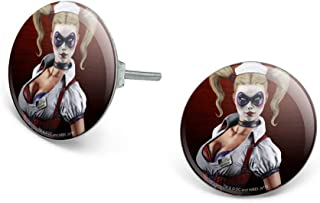 GRAPHICS & MORE Batman Arkham Asylum Video Game Harley Quinn Novelty Silver Plated Stud Earrings