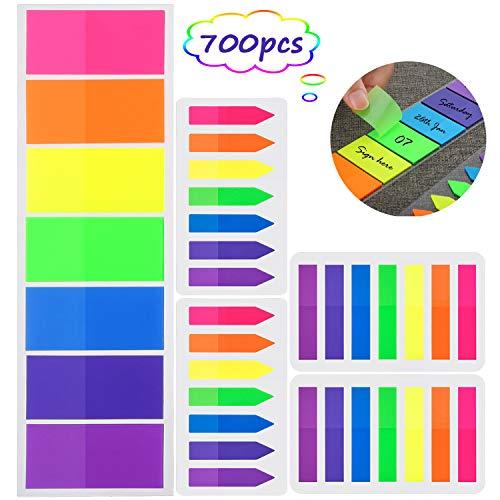 700 Piezas Notas Adhesivas, Índices 3 Tamaños Etiquetas Grabable Marcador de Página Tiras de Resaltador de Texto, 7 Colores, 5 Set