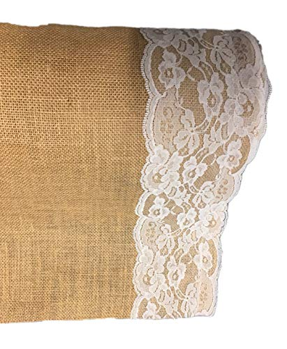 AAYU Brand Premium Burlap Wedding Aisle Runner 100ft x 4ft Wide | 5 Inches Ivory Lace Attached on Both Edges,48 inch 100 feet Wide & Extra Long