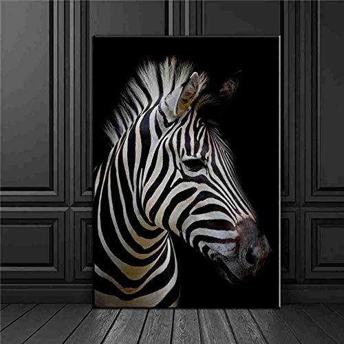 DZMEINI Leinwanddrucke Kunstdruck auf,Zebrakopf Tier Abstrakt Modern Large Size Wandkunst Inkjet Malerei Bild Bild Kunst Für Wohnzimmer Schlafzimmer Wohnkultur,80×120cm