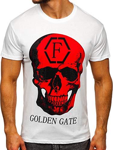 BOLF T-Shirt – Stampa – Scollo Rotondo– Stile Quotidiano – Cotone – Aderente – da Uomo J.Style KS2106 Bianco M [3C3]