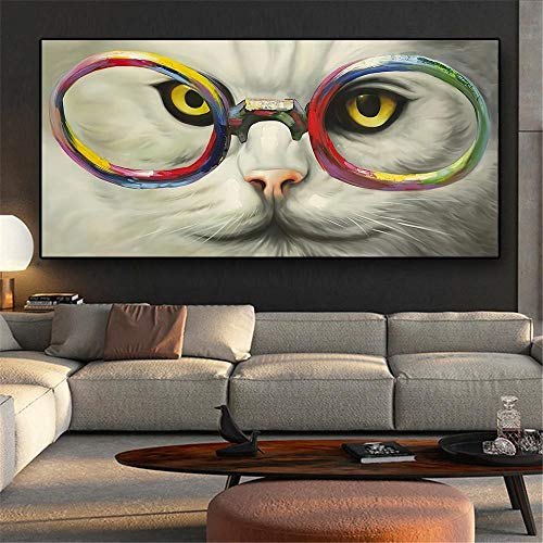 XuFan Cool Cat llevando gafas lienzo pintura abstracta carteles e impresiones arte de pared imágenes para sala de estar decoración del hogar 40x80cm sin marco