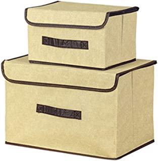 PPCP Storage Box [Two Sets] Non-Woven Storage Box Foldable Storage Box (Color : Beige)