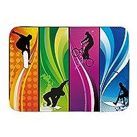 NINEHASA バスマット お風呂マット 鮮やかな色のシルエットを描いたエクストリームスポーツサーフィンBmxingスノーボード バスマット 浴室 吸水 速乾 お風呂マット