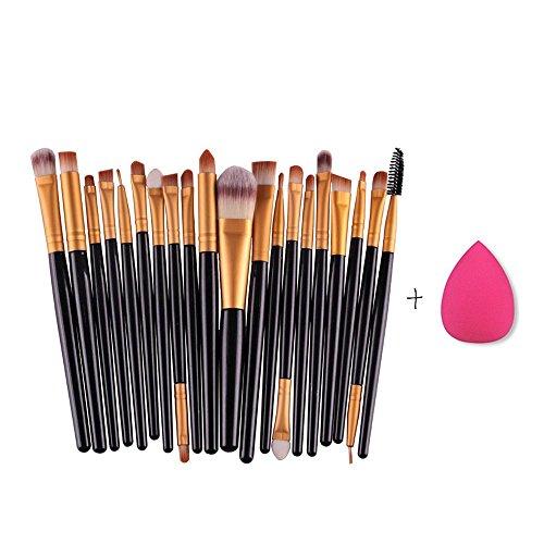 RY@ Maquillage brosse cosmétiques 20pcs Set de teint poudre fard à paupières Eyeliner Lip outil Pinceau (combinaison Pinceau fond de teint Puff)