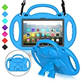 MENZO All-New Fire HD 8 2020 Kids Case, Fire HD 8 Plus Case, Lightweight Shockproof Shoulder Strap Handle Stand Protective Case for Fire HD 8/8 Plus Tablet (10th Generation, 2020 Release), Blue